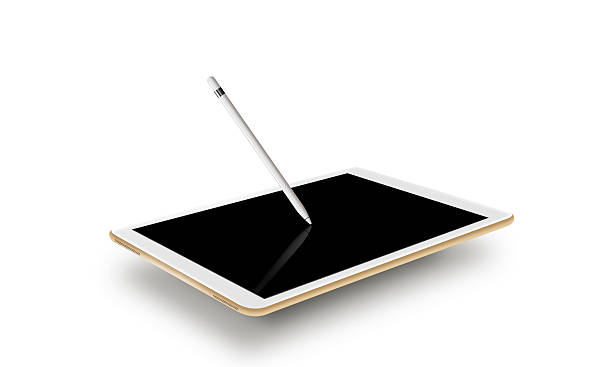 mockup gold tablet realistic style with stylus. isolated on whit - eingabestift stock-fotos und bilder