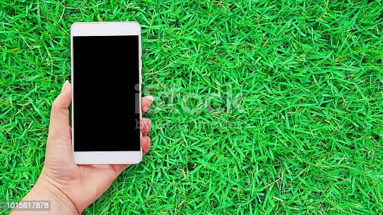 istock Mockup image of hands holding white mobile phone in green grass background 1015617878