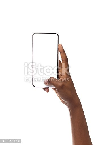 950613878 istock photo Mockup Image Of Smartphone With Blank Screen In Woman's Hand 1179519326