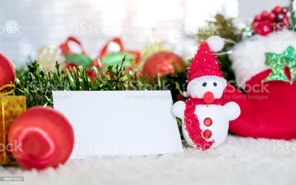 Mockup Image Of White Blank Name Card With Christmas Decorations On ...