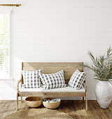 Mockup in farmhouse interior background, 3d render