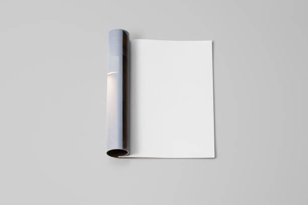 Mock-up Magazin, Zeitung oder Katalog auf grauem Hintergrund. Leere Seite – Foto