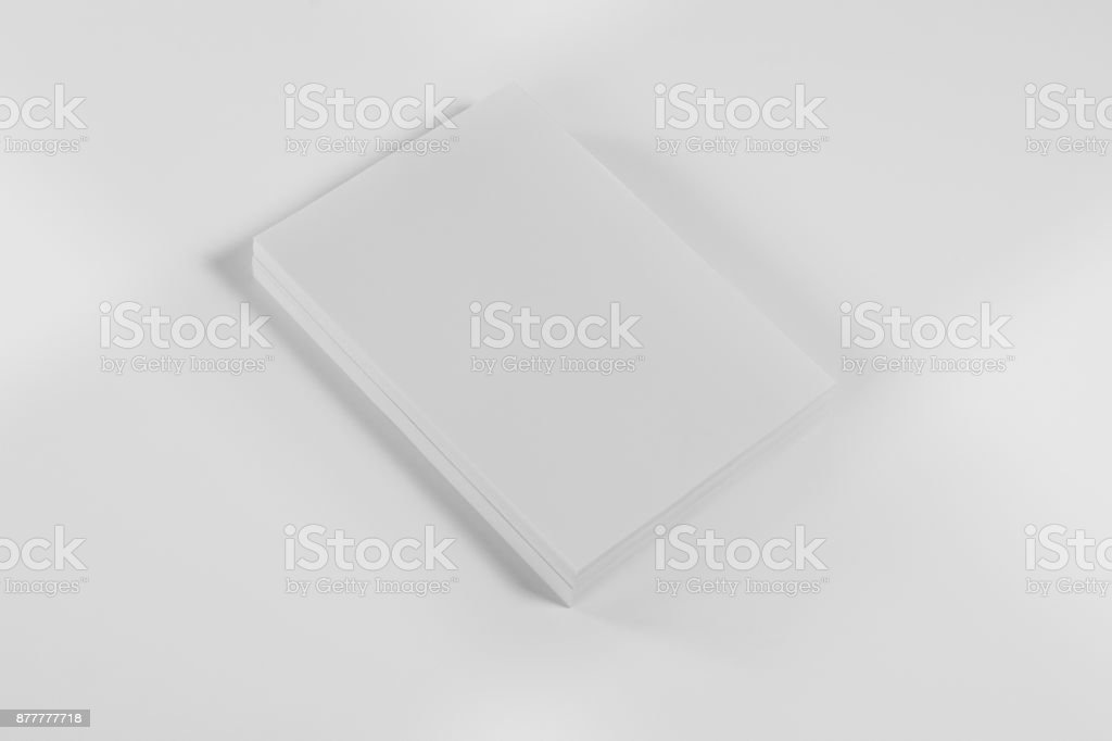 Mockup magazine, poster, brochure or flyer isolated on white background stock photo