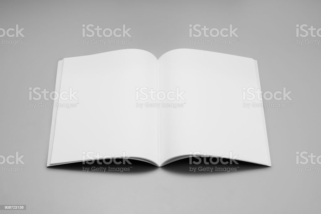 Mock-up magazines, book or catalog on gray table background stock photo
