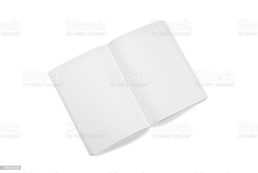 Mock-up magazines, book or catalog on white table background. stock photo
