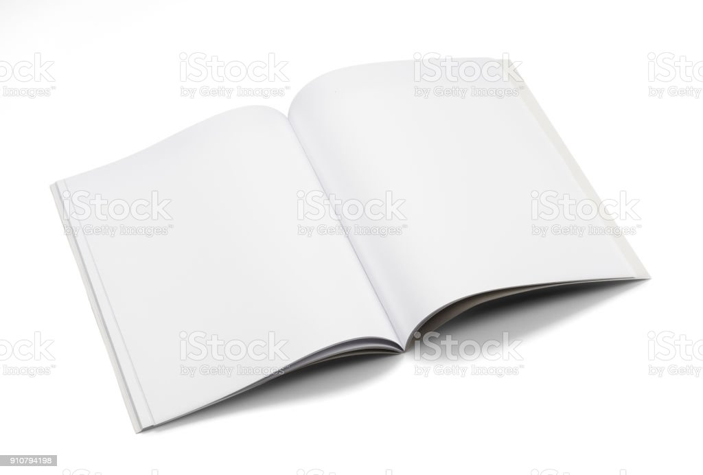 Mock-up magazines, book or catalog on white table background stock photo