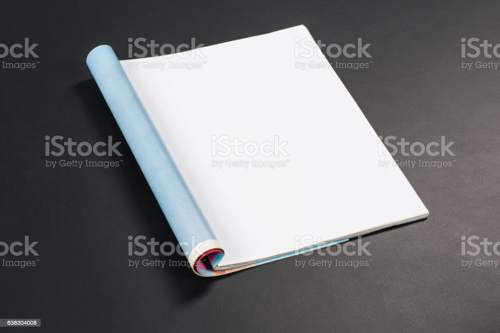 Mock-up magazines or catalog on black chalkboard background. stock photo