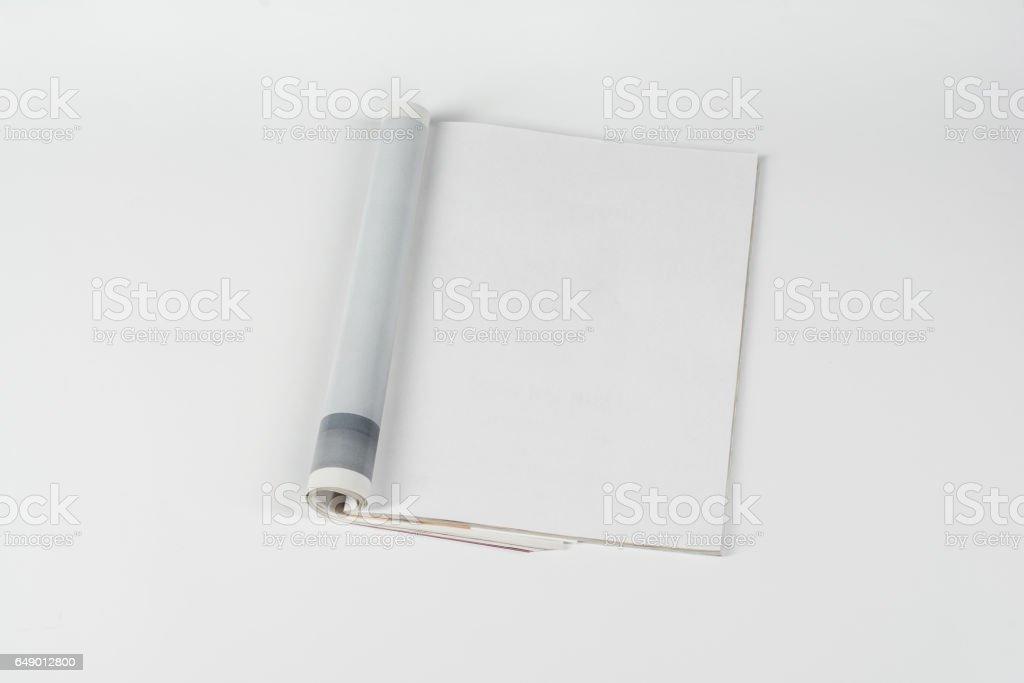 Mock-up magazines or catalog on white table background. stock photo