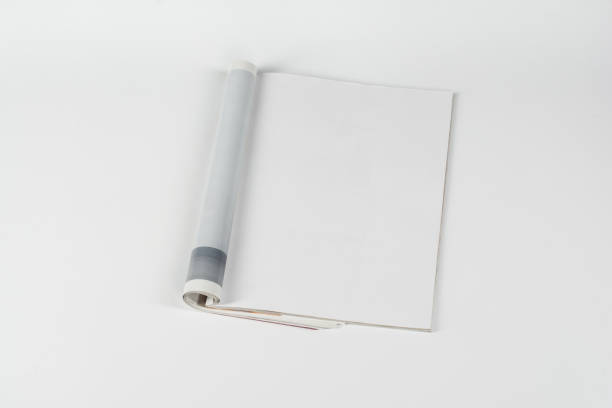 mock-up magazines or catalog on white table background. - magazine stock photos and pictures