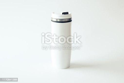 1129148925istockphoto Mockup. Metal travel mug with a place for your design on white background. White mug. Isolated. 1170841388