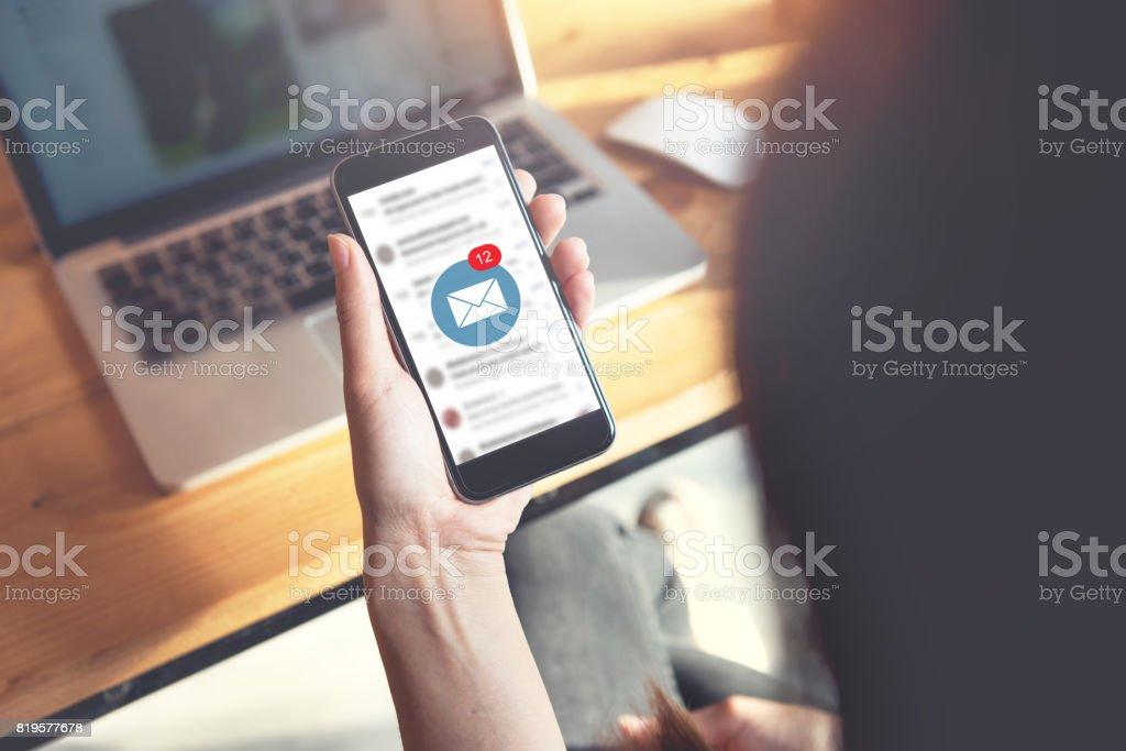 Mockup New messages on mobile smartphone. stock photo