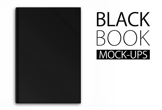 Mock-up of a black book on white background stock photo