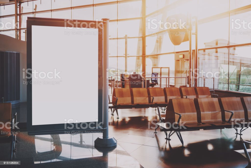 Mockup of banner in waiting hall of airport terminal stock photo