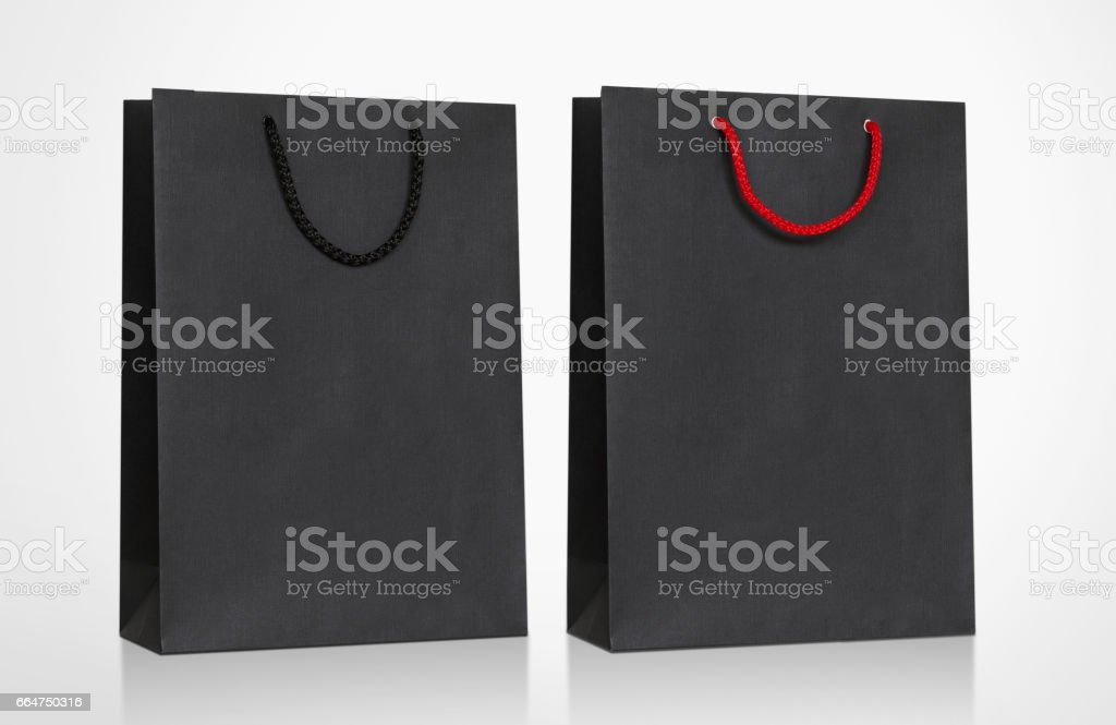 Mock-Up of Black Cardboard Bag with handle rope, Isolated on white background stock photo