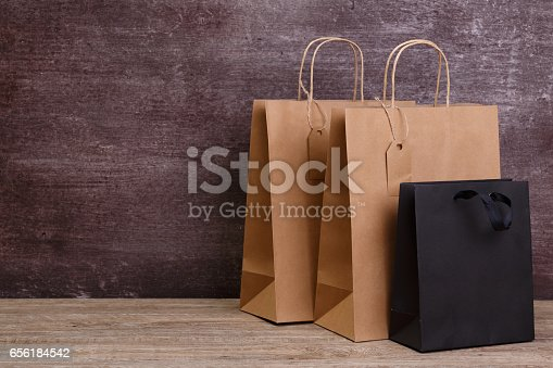 istock Mockup of blank shopping bags. Sale concept. 656184542