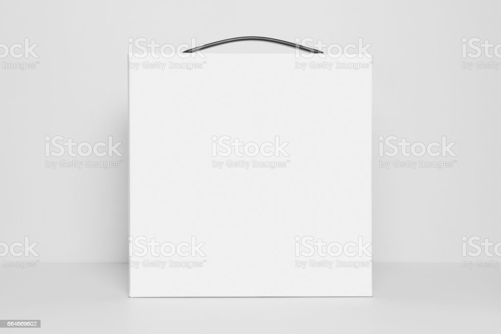 Mock-up of blank white square box with carrying handle, front view, Template Isolated on a white background stock photo