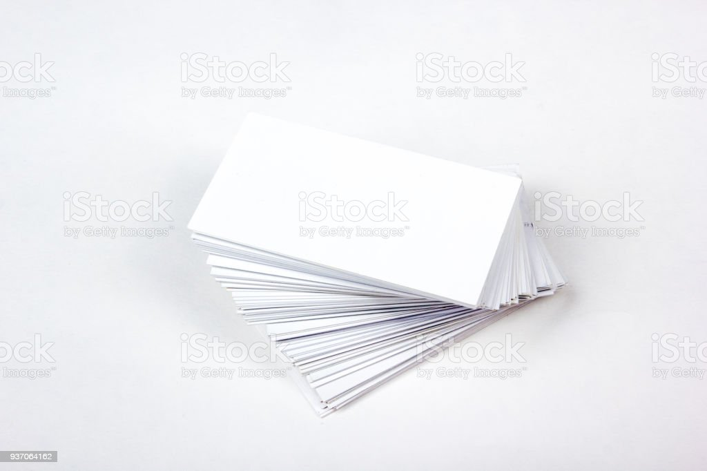 Mockup Of Business Cards Fan Stack At White Textured Paper ...