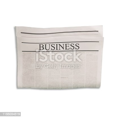 546439334 istock photo Mockup of Business newspaper blank with textured space for text, headline and images. 1155034319