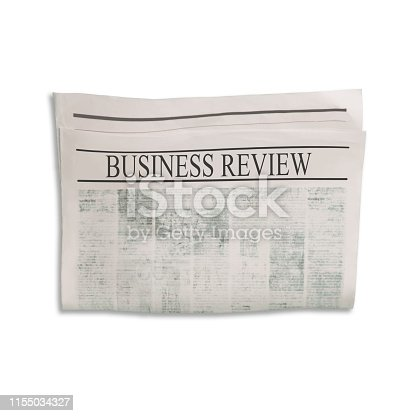 546439334 istock photo Mockup of Business Review newspaper blank with unreadable text and images. 1155034327