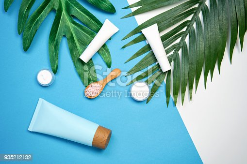 927626522 istock photo Mockup of cosmetic cream bottle, Blank label package and ingredients on a green leaves background. Concept of natural beauty products. 935212132