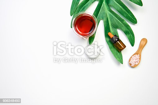 927626522 istock photo Mockup of cosmetic cream bottle, Blank label package and ingredients on a green leaves background. Concept of natural beauty products. 936348450