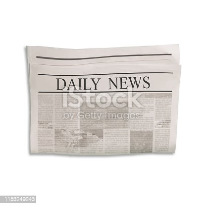 Mockup of Daily News newspaper blank with unreadable text and images. Isolated on white background. News paper with headline. Vintage old gray beige sepia grunge texture.