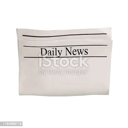 istock Mockup of Daily News newspaper blank with unreadable text and images. 1164996118