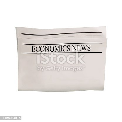 546439334 istock photo Mockup of Economics News newspaper blank with empty space for news text, headline and images. 1155034315