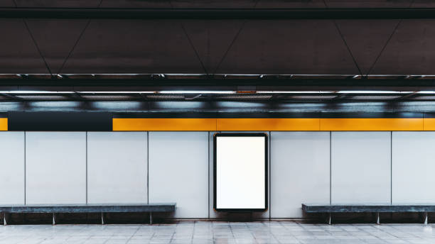 mock-up do banner de informação vazia no metrô - banco assento - fotografias e filmes do acervo