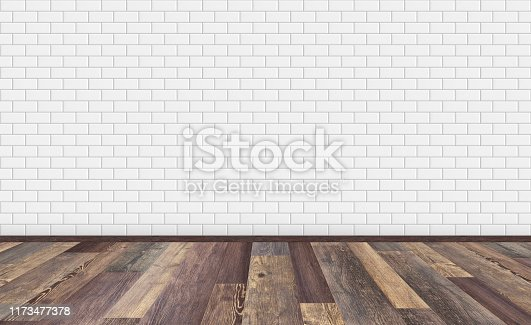 Mockup of empty living room with brown vintage oak wooden floor and classic white ceramic rectangle metro tiles wall. 3D rendering illustration of empty living space room for design interior.