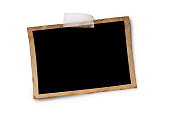 istock Mockup of empty old vintage black paper sheet with scotch tape 1129071311