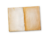 istock Mockup of empty old vintage yellowed book pages 1129903451