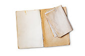 istock Mockup of empty old vintage yellowed book pages 1129903471