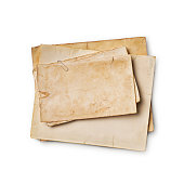 istock Mockup of empty old vintage yellowed paper sheets 1129071021