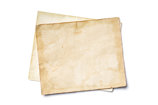 Mockup of empty old vintage yellowed paper sheets