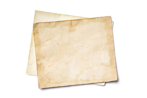 макет пустых старых винтажных пожелтеных бумажных листов - письмо документ стоковые фото и изображения