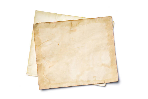 Mockup of empty old vintage yellowed paper sheets Mockup of empty old vintage yellowed paper sheets isolated on white background antediluvian stock pictures, royalty-free photos & images