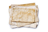 istock Mockup of empty old vintage yellowed paper sheets 1129071103