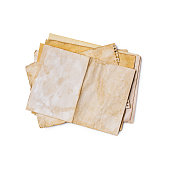 istock Mockup of empty old vintage yellowed paper sheets 1129071287