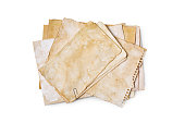 istock Mockup of empty old vintage yellowed paper sheets 1129071291