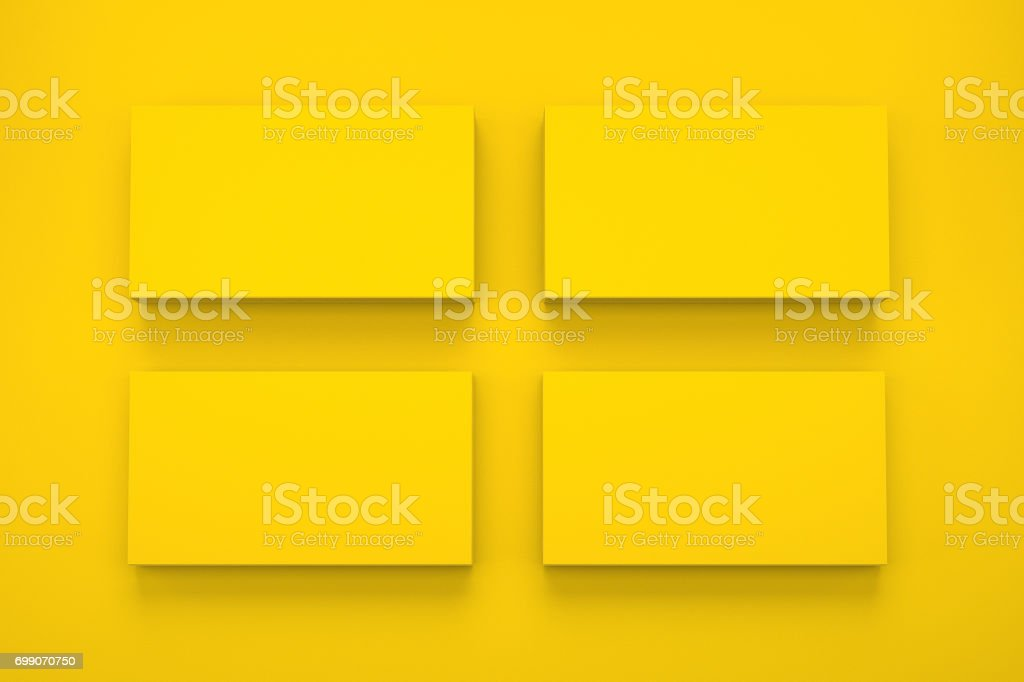 Mockup of four business cards on yellow textured paper studio high mockup of four business cards on yellow textured paper studio high resolution 3d render colourmoves