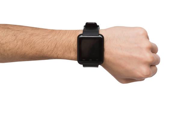 mockup van hand dragen van slimme horloge, knipsel - wijzerplaat stockfoto's en -beelden