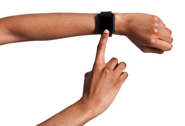 mock-up von hand tragen smartwatch, ausschnitt - markenuhren damen stock-fotos und bilder
