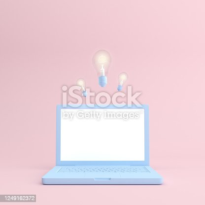 Mockup of laptop with blank screen and light bulb in minimal style. 3D rendering.
