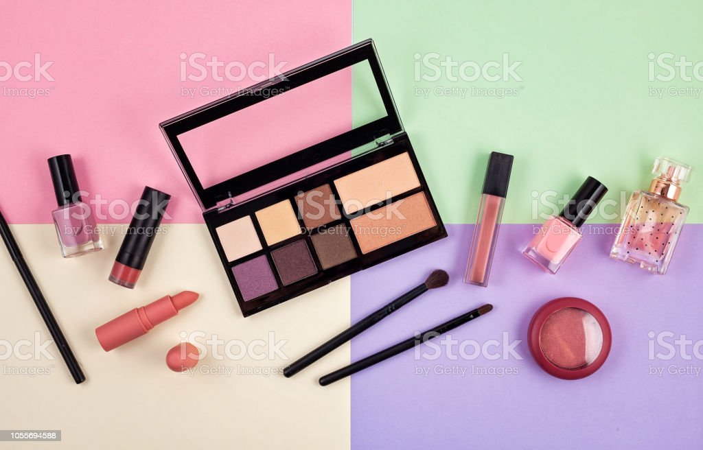 Mockup of makeup cosmetic products, flat lay, top view. Woman beauty...