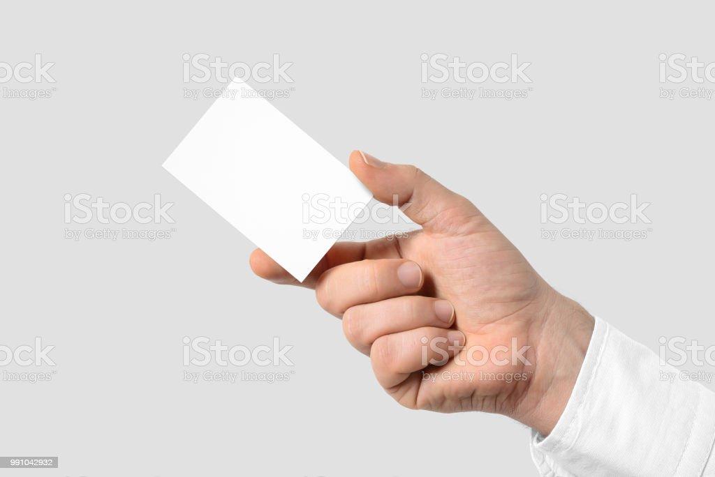 Mockup Der Männliche Hand Die Eine Visitenkarte Auf Grauem