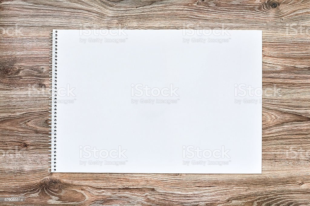 mockup of open album with blank white page. Gorizontal orientation stock photo