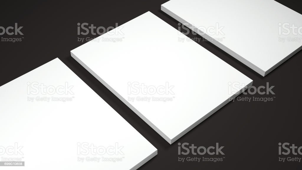 Mockup of three White A4 paper sheets on black background. Soft shadow. High resolution 3d render. stock photo
