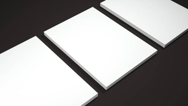 Mockup of three White A4 paper sheets on black background. Soft shadow. High resolution 3d render. Mockup of three White A4 paper sheets on black background. Soft shadow. High resolution 3d render. catalog stock pictures, royalty-free photos & images