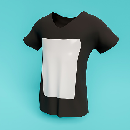 mockup of t-shirt with white square in the center for design sample